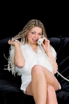 Portrait Sexual Girl With Telephone Royalty Free Stock Photos
