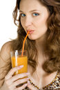 Free Attractive Brunette Drink Juice Royalty Free Stock Photography - 4341357