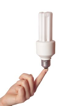 Free Fluorescent Light Bulb On Female Hand Royalty Free Stock Images - 4340269