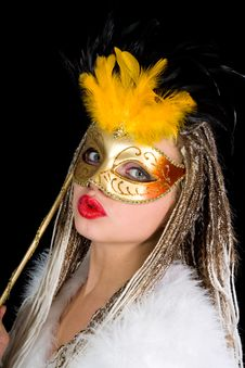 Free Portrait  Girl With Mask Royalty Free Stock Photos - 4340328