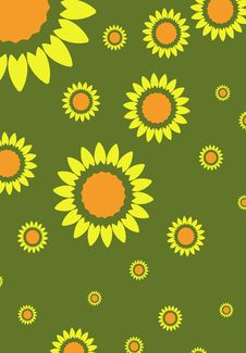 Free Sunflowers On Green Royalty Free Stock Photography - 4340987