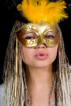Free Portrait  Girl With Mask Royalty Free Stock Images - 4341349