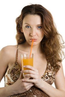 Free Attractive Brunette Drink Juice Royalty Free Stock Photography - 4341367