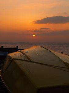 Sunset Over Sailing Boat Royalty Free Stock Images