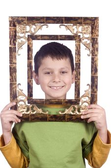 Boy With Frame Stock Image