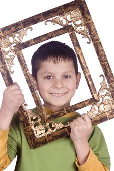 Boy With Frame Stock Photos