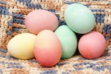 Colored Eggs On Crochet Stock Images