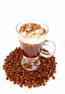 Free Cup Of Coffee With Milk And Grain Stock Photo - 4345520
