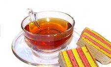 Free Transparent Cup Of Tea And Cookies Stock Image - 4345591