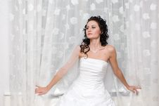A Beautiful Bride By The Window Royalty Free Stock Image