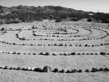 Free Zen Rock Garden In The Desert B&W Royalty Free Stock Photos - 4348368
