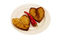Free Hot Red Pepper And Two Heart Toast Royalty Free Stock Photos - 43415958