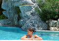 Free Resting In A Pool Stock Image - 4357991