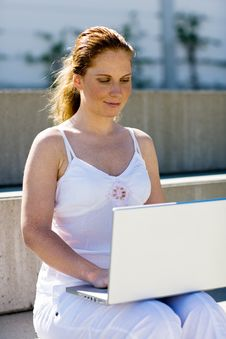 Free Sitting Outdoor With Laptop Royalty Free Stock Image - 4350786