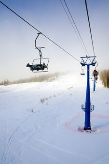 Free Ski Lift To Up Hill Stock Photography - 4351232