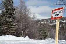 Free Sign Patrolled Area On Mountain Slope For Freeride Stock Photos - 4351383