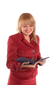 Free Reading Girl In Red Suit Stock Photo - 4352220