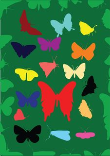 Free Silhouette Of Butterflys Royalty Free Stock Image - 4352296