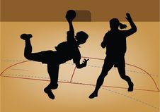 Free Silhouette Of Handball Player Royalty Free Stock Photography - 4352677