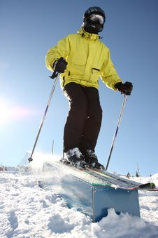Free Skier On Box Stock Photography - 4352732