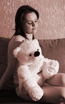 Free Girl With A Toy Bear Stock Image - 4352791