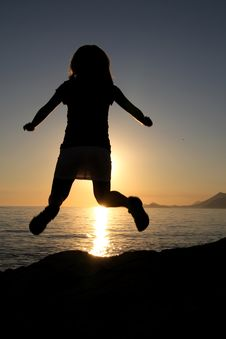 Free Silhouette Of Jumping Girl Stock Photo - 4353260