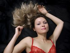 Free The Beautiful Blonde In Red Royalty Free Stock Photo - 4357605