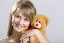 Free Smiling Teen Holding A Teddy Bear Toy Stock Image - 4358291