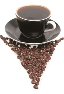 Free The Black Cup With Fragrant Coffee Costs On A Tabl Royalty Free Stock Photos - 4359978