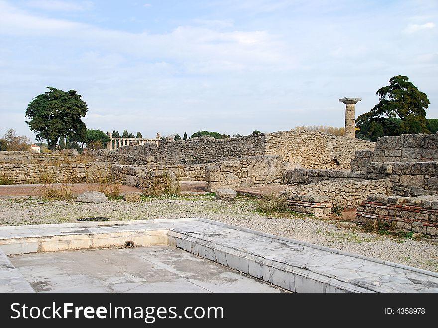 Ruins of Roman town at Paestum