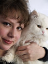 Free Young Lady Holding White Cat Stock Photos - 4363723