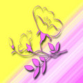 Free Pink Flower Abstract Yellow Background Royalty Free Stock Photos - 4366588