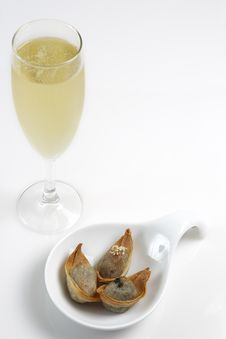 Free Champagne With Finger Food Stock Images - 4360324