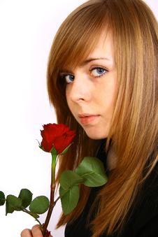 Free Woman With Rose Royalty Free Stock Images - 4363289