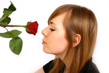Free Woman With Rose Royalty Free Stock Photos - 4363388
