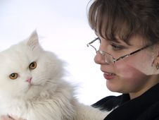 Free Young Lady In Glasses Holding Cat Stock Photo - 4363610