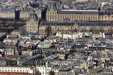 France, Paris; Sky City View With The Louvre Royalty Free Stock Photos