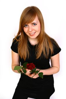 Free Women With Rose Royalty Free Stock Images - 4363789