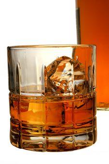 Isolated Whiskey Bottle & Glass Stock Photography