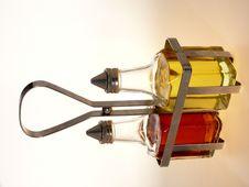 Free Oil And Vinegar Bottles In Metal Rack Stock Photo - 4364610