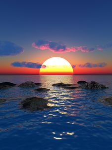 Free Sea Sunset Royalty Free Stock Photography - 4364647