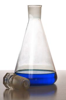 Free Chemical Glass With Blue Liquid Stock Photography - 4367382