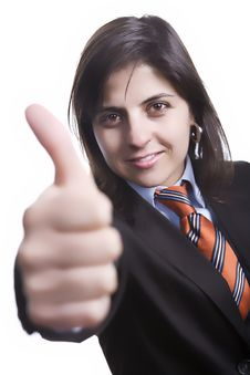Free Business Woman With Thumbs Up Royalty Free Stock Images - 4367609