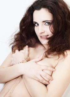 Shy Topless Girl Stock Photography