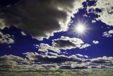 Sunbeams On Blue Stock Image