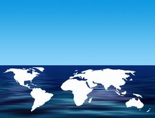 Free World Map On Water Stock Photography - 4369652