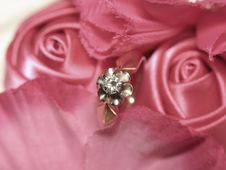 Free Diamond Ring In Satin Roses Stock Image - 43625181