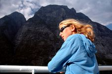 Free Girl Admiring Scenery From Ferry Stock Image - 4370181