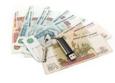 Free Russian Rubles And Usb Drive Royalty Free Stock Photos - 4370648