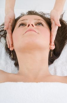 Free Facial Massage To The Girl Royalty Free Stock Image - 4370716